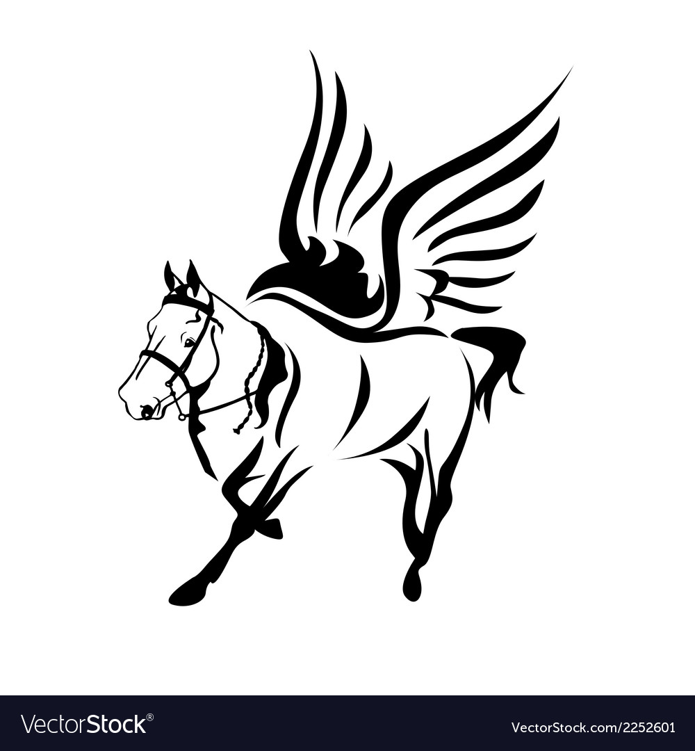 Horse-with-wings-black-and-white-horse-logo-symbol vector | Price: 1 Credit (USD $1)