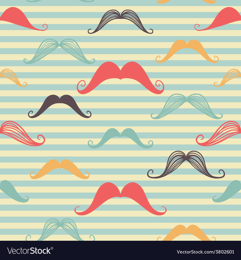 Mustache seamless pattern in vintage style pattern vector