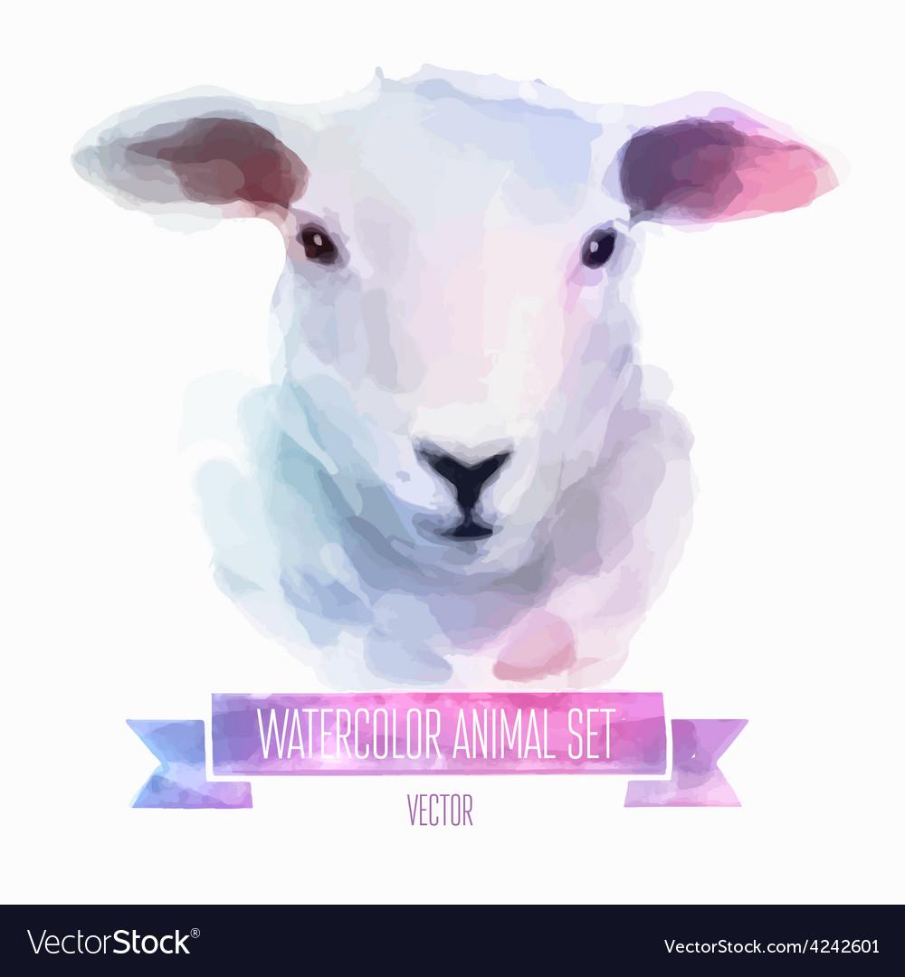 Set of watercolor  cute sheep vector | Price: 1 Credit (USD $1)