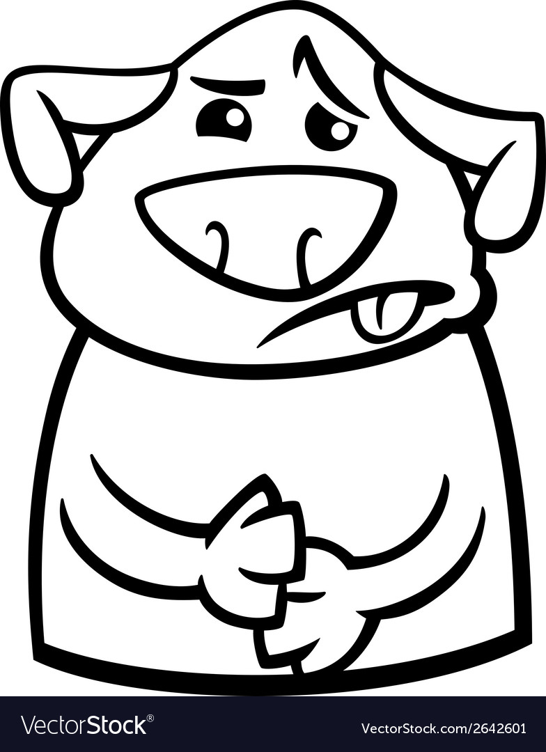 Sick dog cartoon coloring page vector | Price: 1 Credit (USD $1)