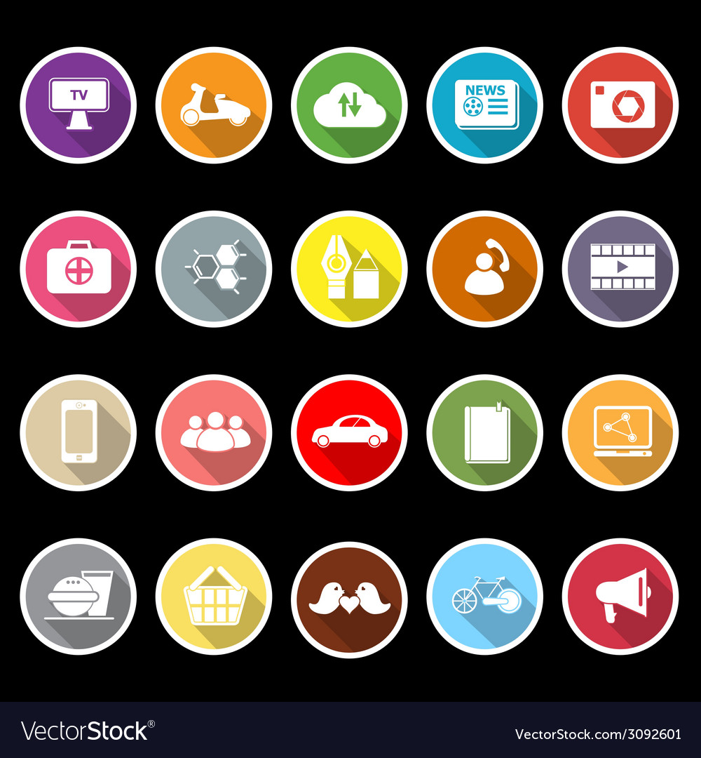 Social network flat icons with long shadow vector | Price: 1 Credit (USD $1)