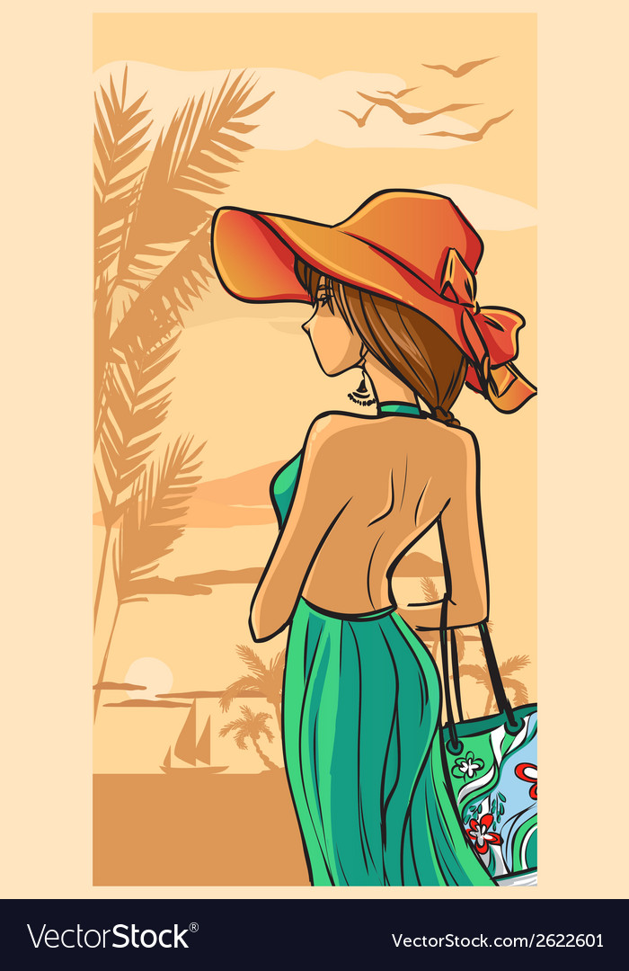 Summer and beautiful lady in green dress and hat vector | Price: 1 Credit (USD $1)