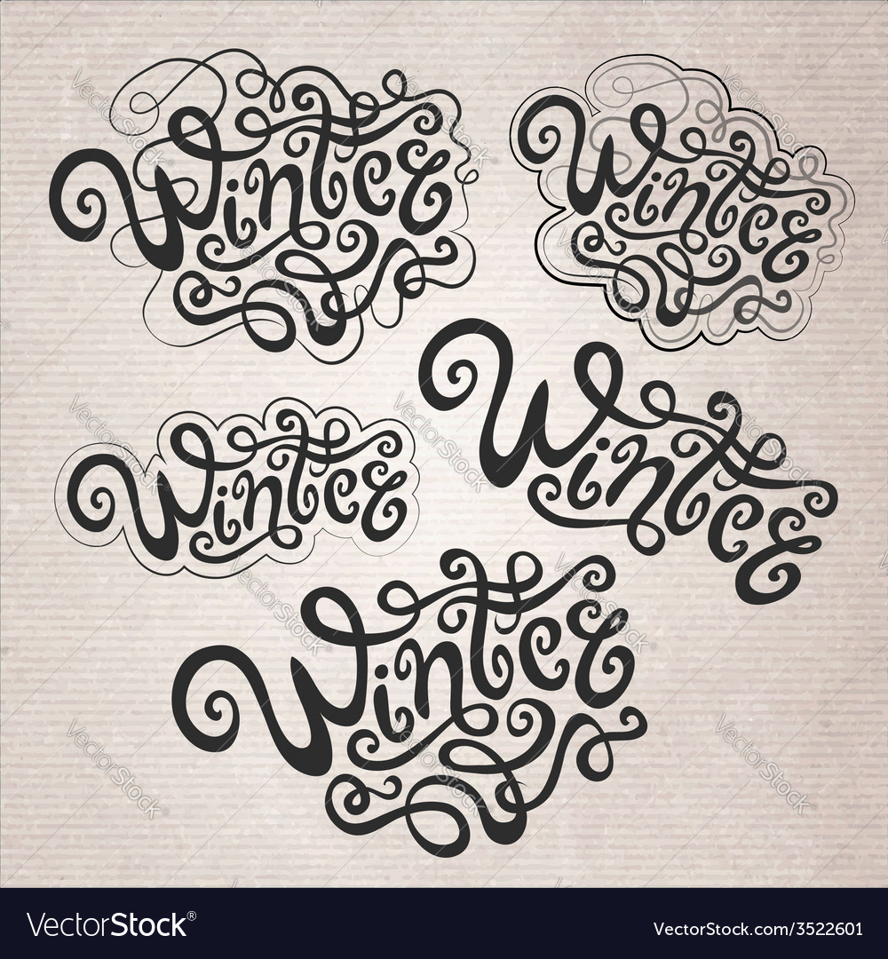 Winter hand lettering set vector | Price: 1 Credit (USD $1)