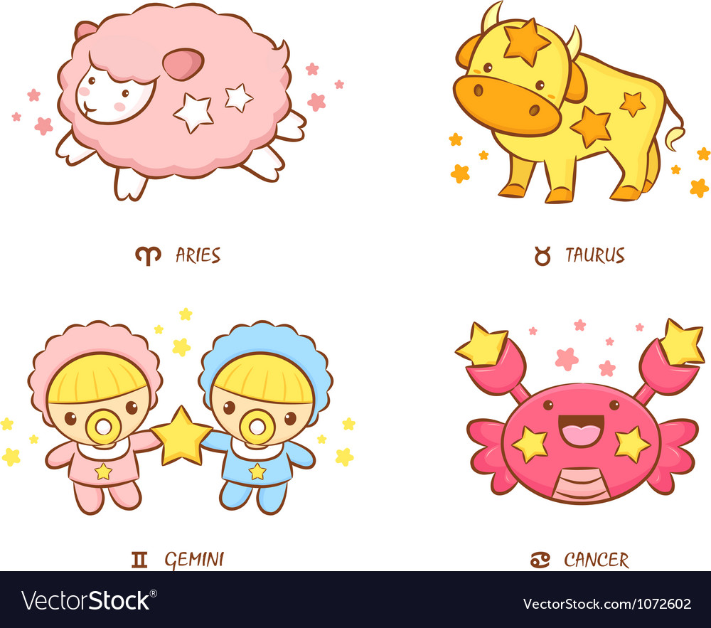 Aries and taurus twins and crab mascot vector | Price: 3 Credit (USD $3)