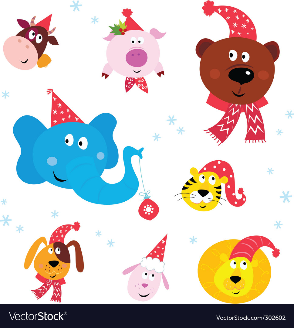 Christmas party animals vector | Price: 1 Credit (USD $1)