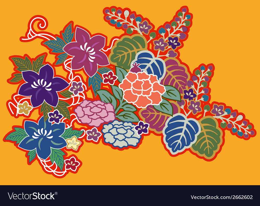 Colorful floral montage vector | Price: 1 Credit (USD $1)