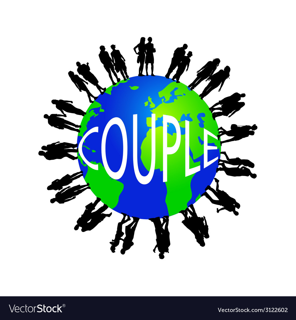 Couple and the globe vector | Price: 1 Credit (USD $1)