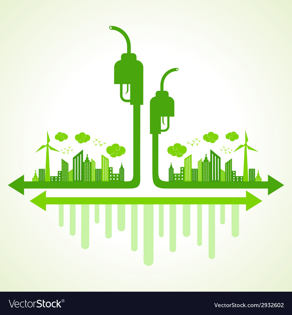 Ecology concept with eco pump vector | Price: 1 Credit (USD $1)