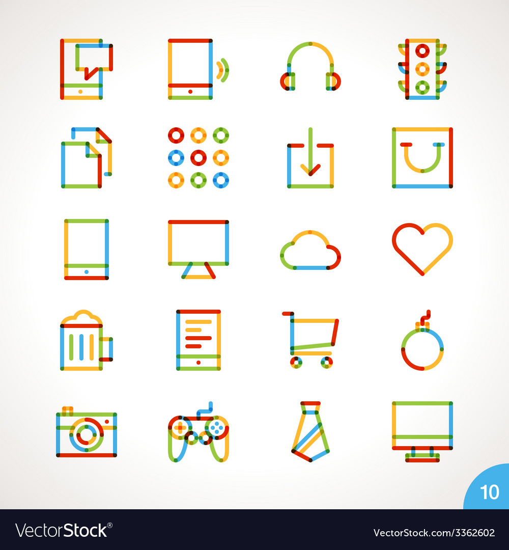 Highlighter line icons set 10 vector | Price: 1 Credit (USD $1)