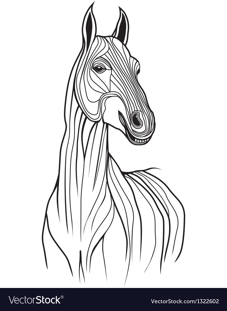 Horse head animal for t-shirt sketch tattoo design vector | Price: 1 Credit (USD $1)