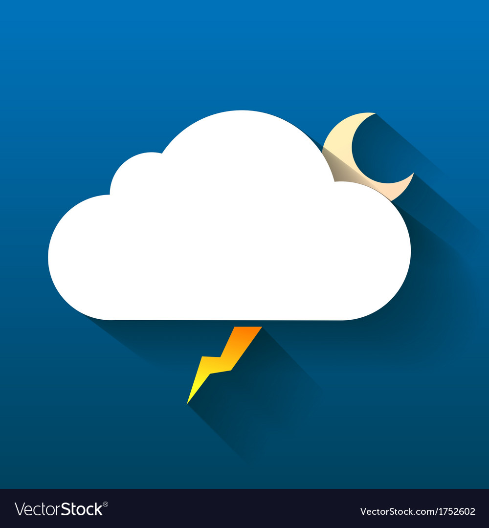 Night cloud moon and lightning isolated on dark vector | Price: 1 Credit (USD $1)