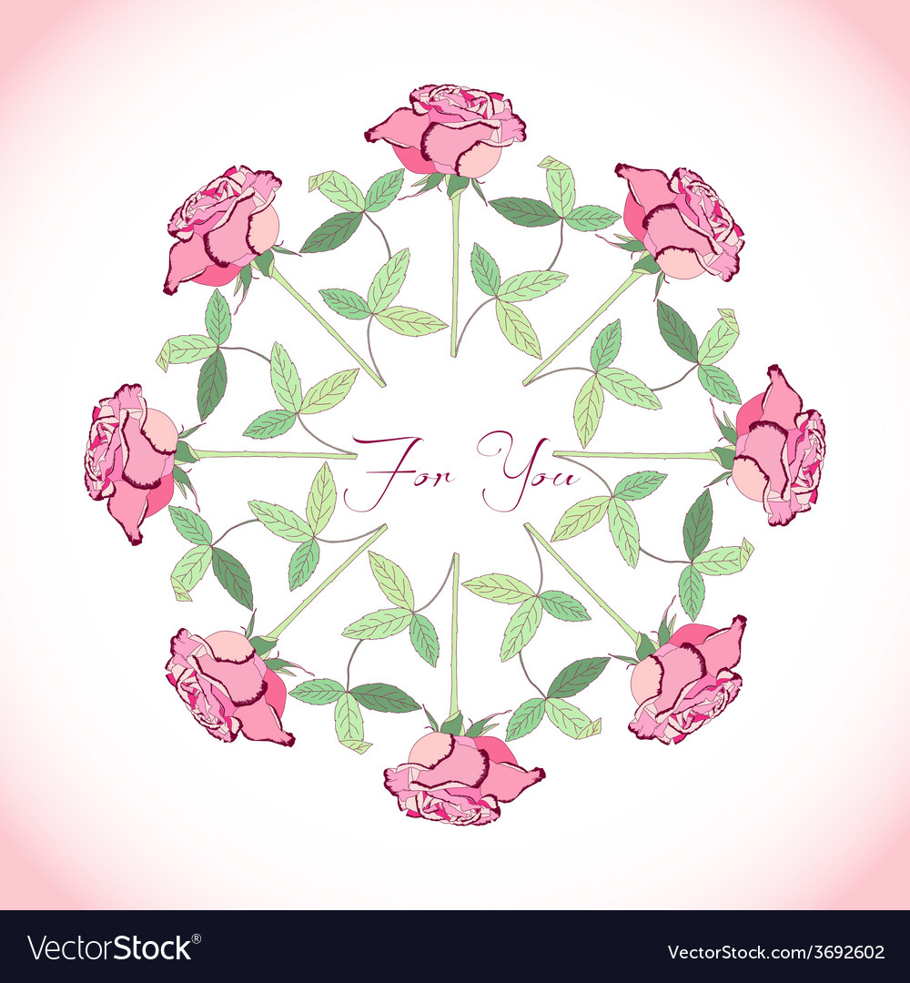 Ornamental round with rose vector