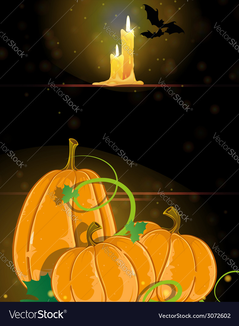 Pumpkins and burning candles vector | Price: 3 Credit (USD $3)