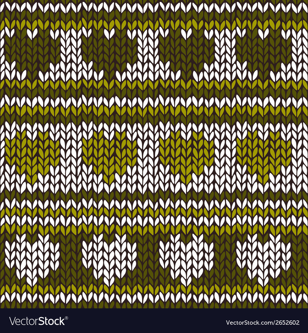 Seamless pattern with knitted hearts and stripes vector | Price: 1 Credit (USD $1)