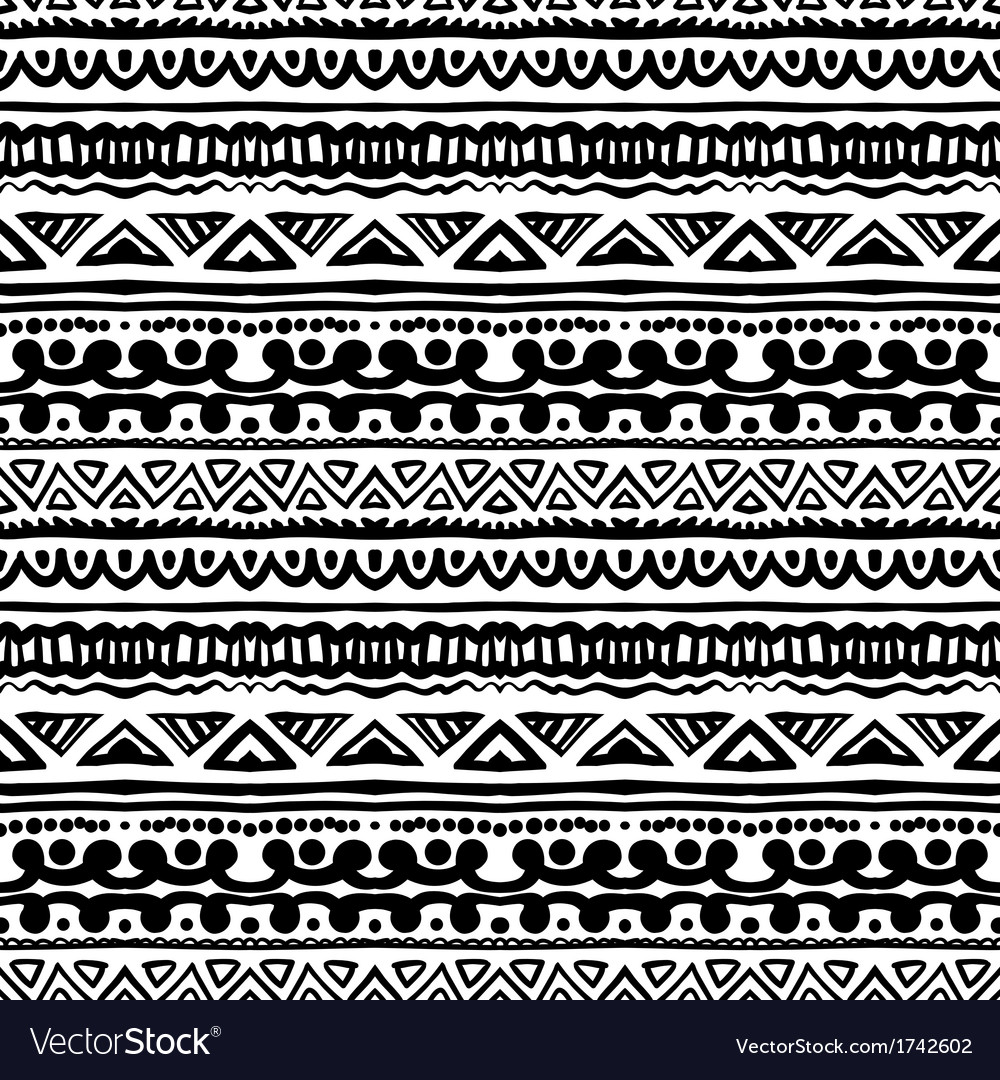 Striped ethnic pattern in black and white vector | Price: 1 Credit (USD $1)