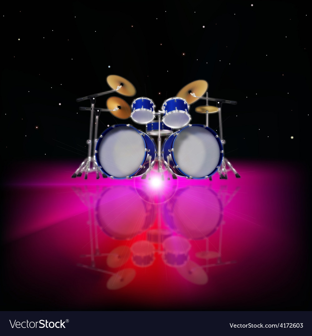 Abstract music background with drum kit and pink vector | Price: 3 Credit (USD $3)