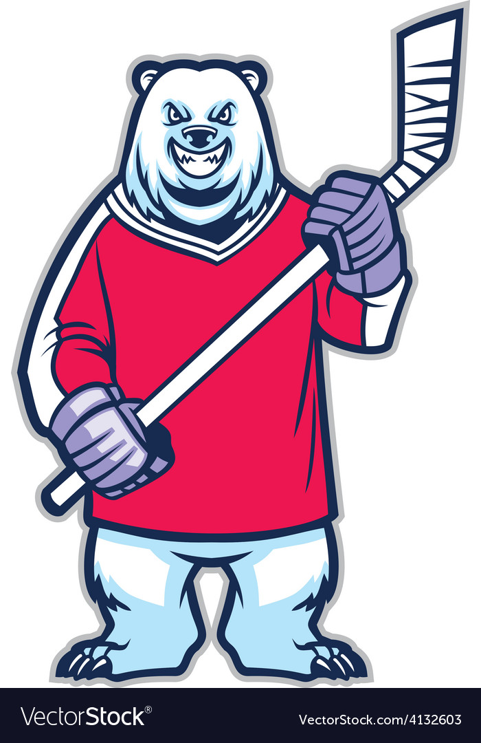 Bear ice hockey mascot vector | Price: 3 Credit (USD $3)