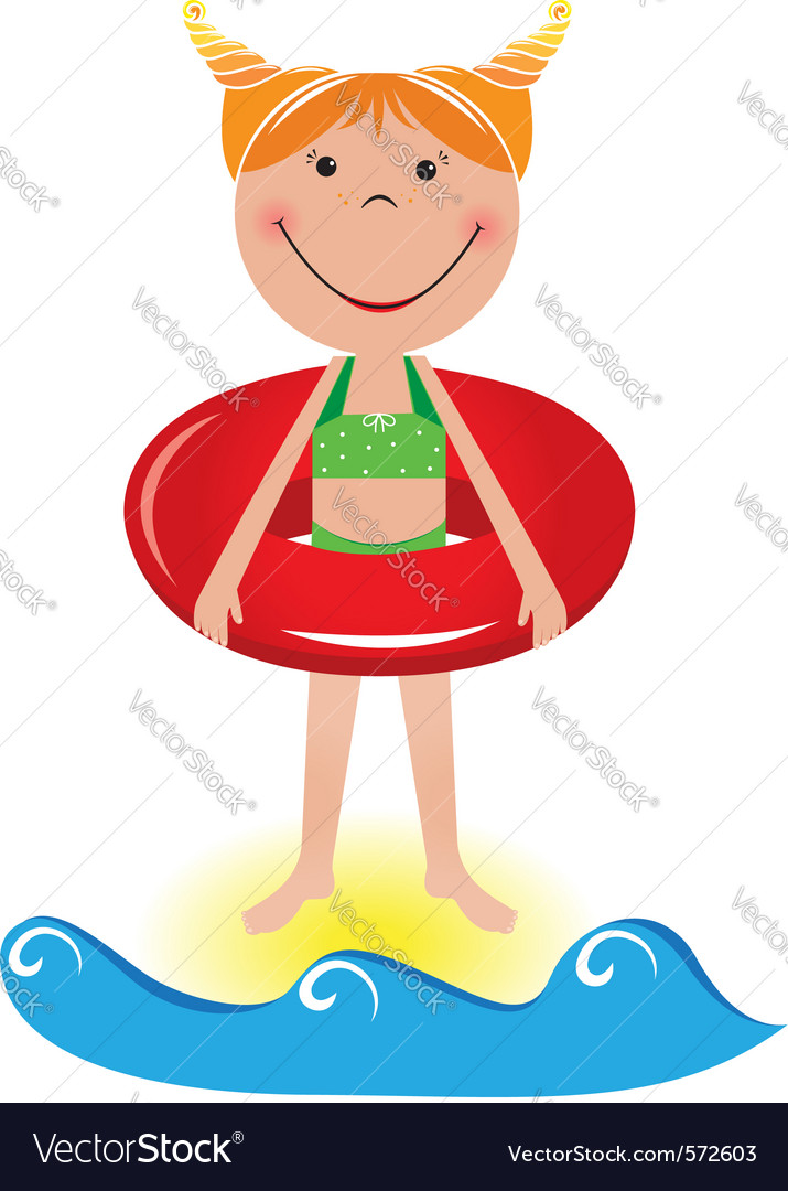 Cartoon beach girl vector | Price: 1 Credit (USD $1)