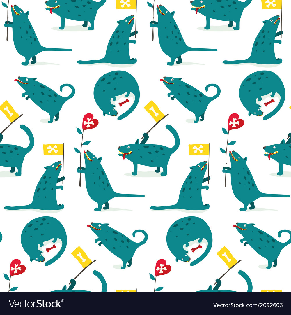 Cartoon monster dogs seamless pattern vector | Price: 1 Credit (USD $1)