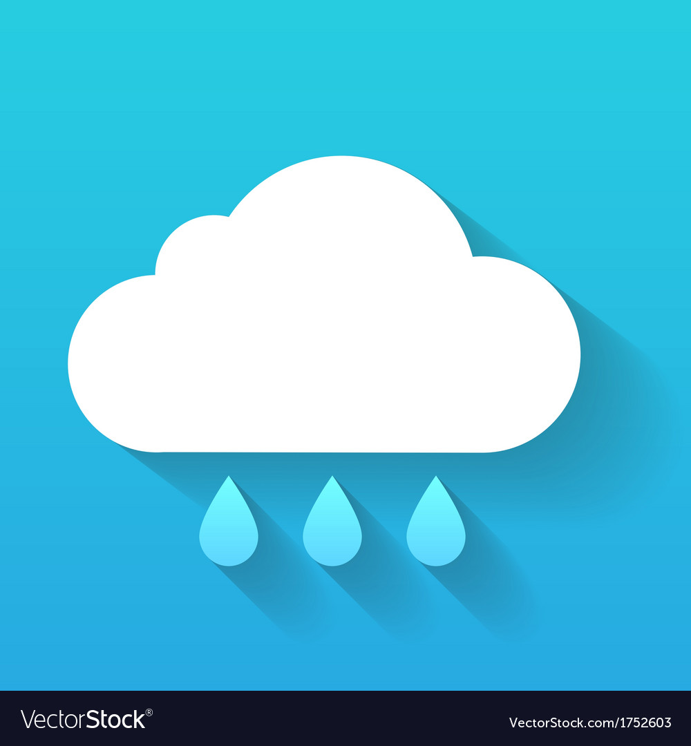 Day cloud and rain drops isolated on blue vector | Price: 1 Credit (USD $1)