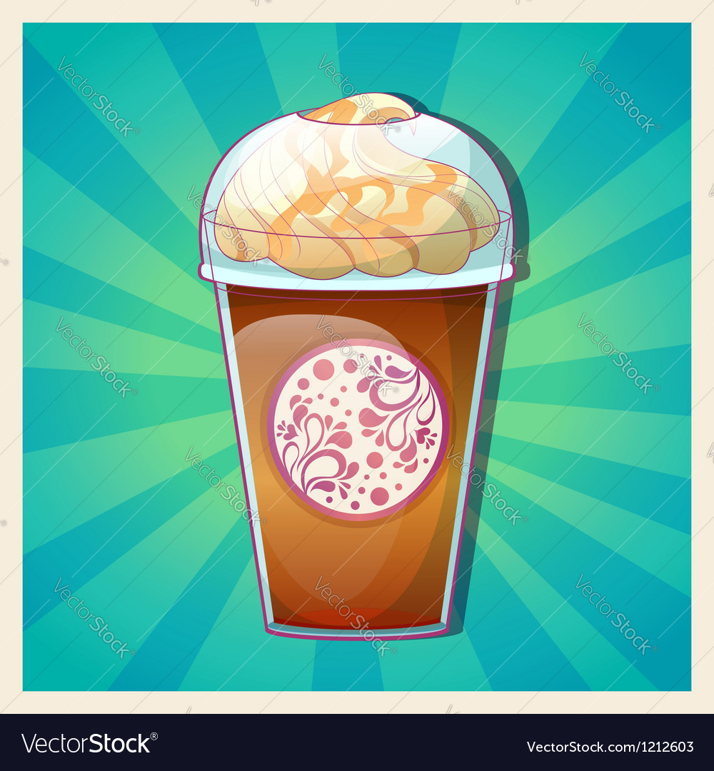 Delicious cold caramel frappe ice-cream vector | Price: 3 Credit (USD $3)