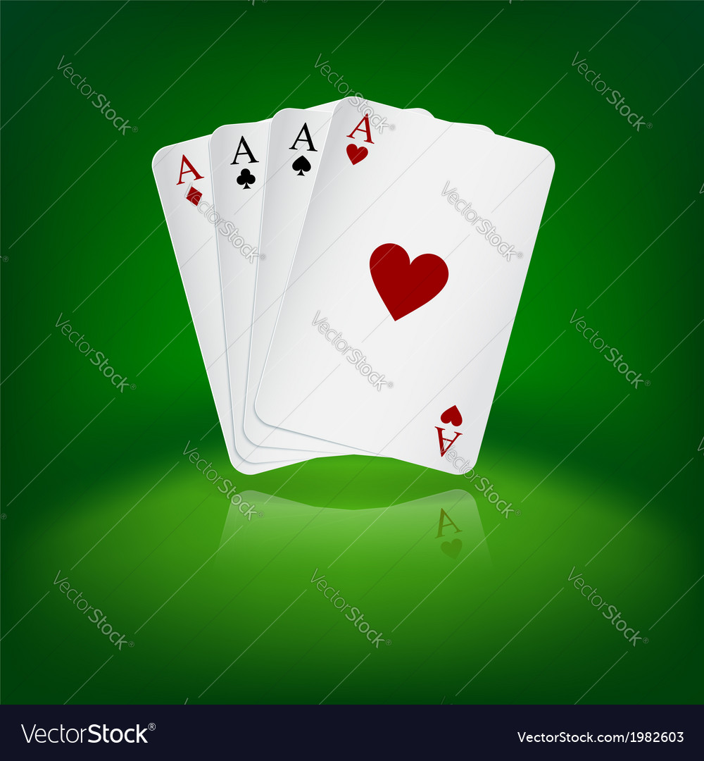 Four aces playing cards on green background vector | Price: 1 Credit (USD $1)