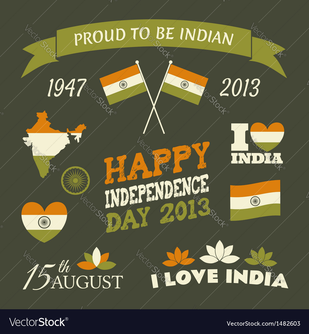 India independence day celebration icons set vector | Price: 1 Credit (USD $1)