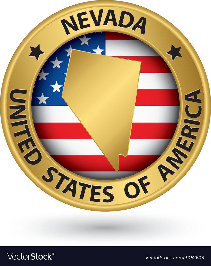Nevada state gold label with state map vector | Price: 1 Credit (USD $1)
