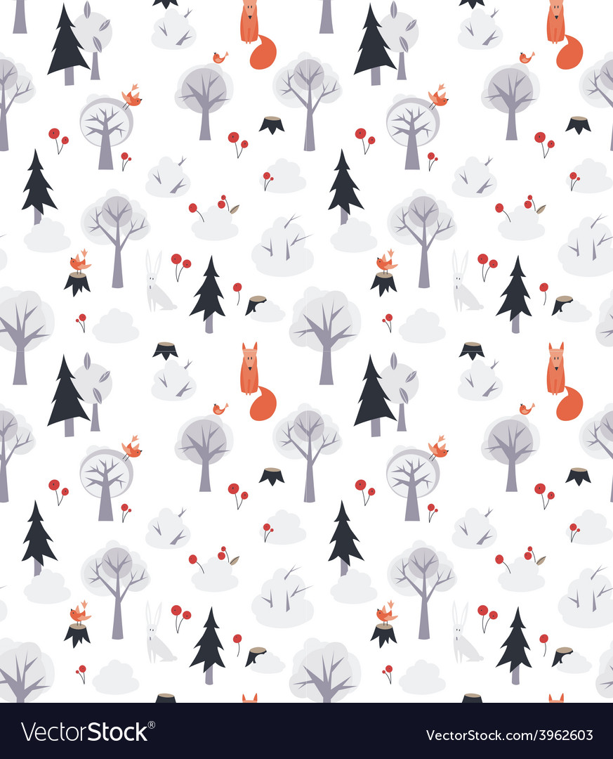 Pattern with foxes and trees vector | Price: 1 Credit (USD $1)