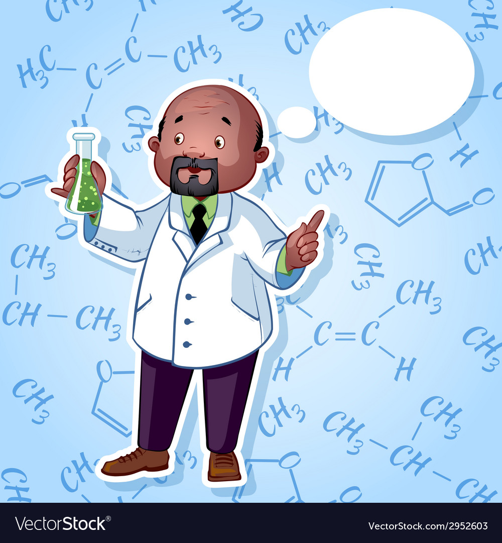 Professor in a white robe with a chemical flask in vector | Price: 1 Credit (USD $1)