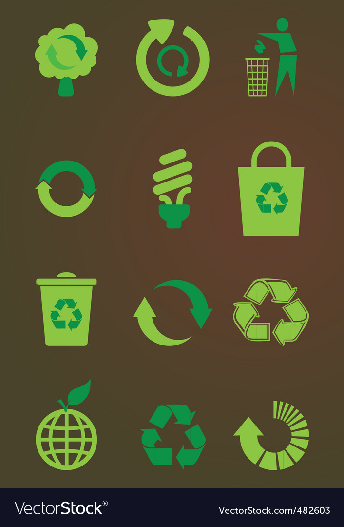 Recycling icons set vector | Price: 1 Credit (USD $1)