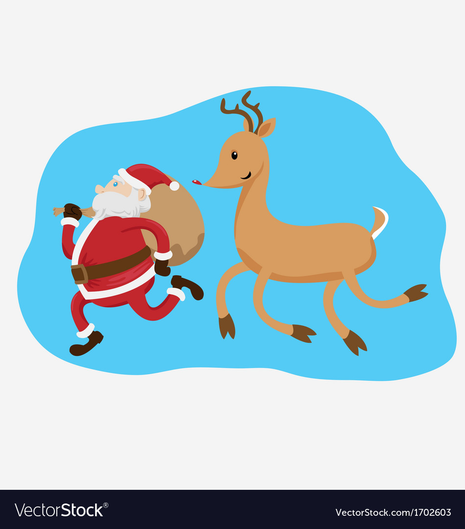 Santa claus and rudolph the reindeer vector