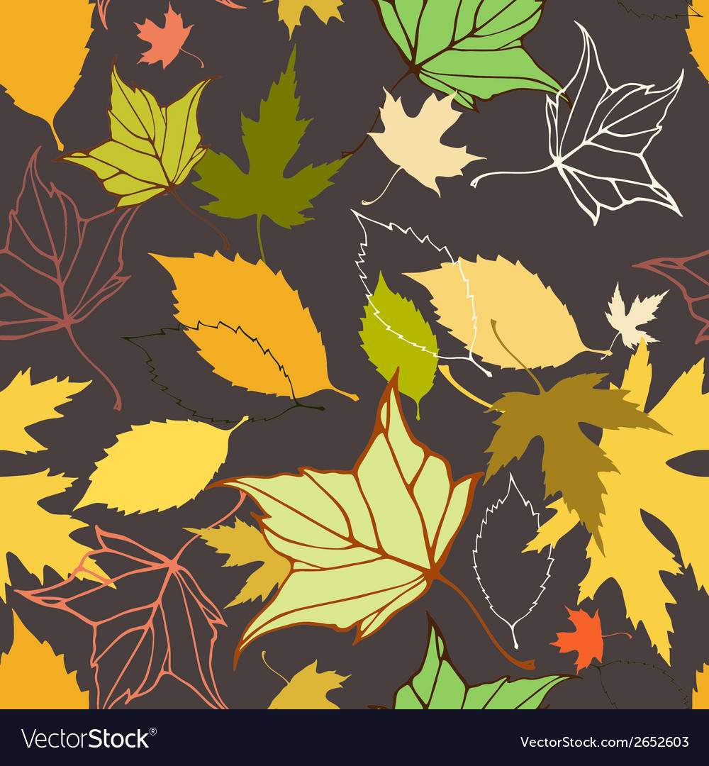 Seamless pattern with decorative autumn leaves vector   Price: 1 Credit (USD $1)