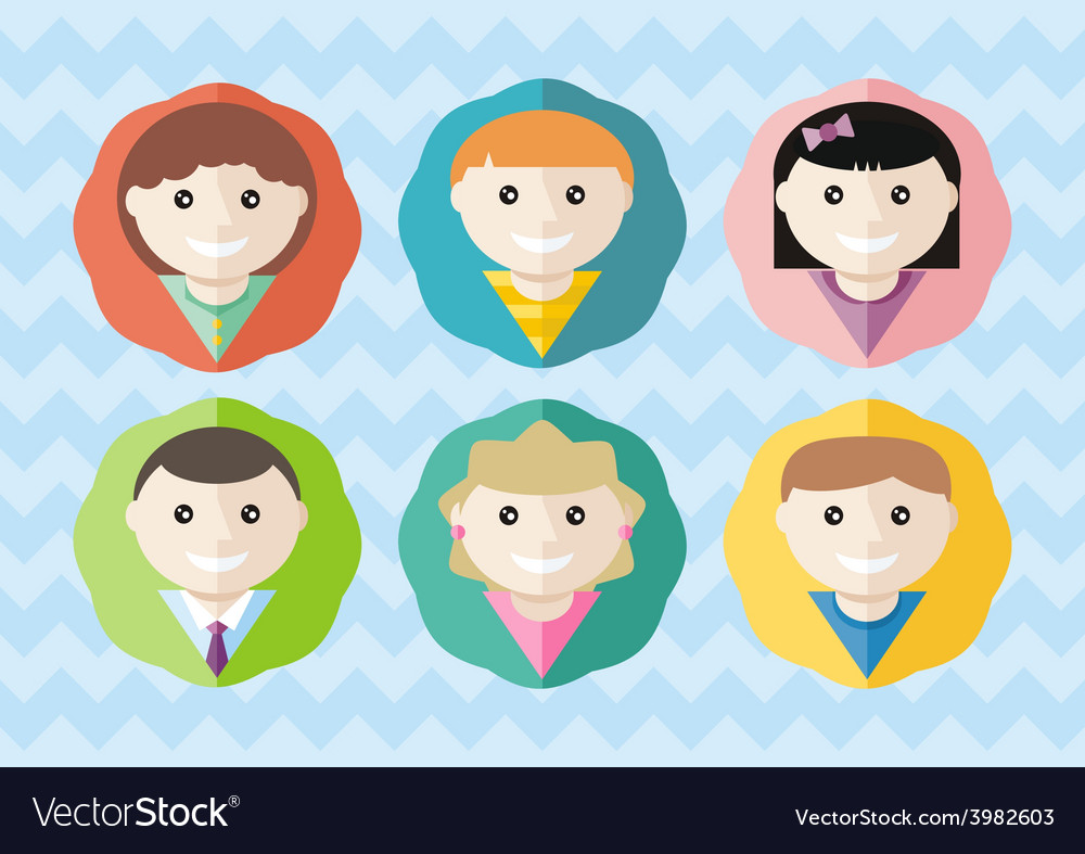 Set of round avatars different boys and girls vector | Price: 1 Credit (USD $1)
