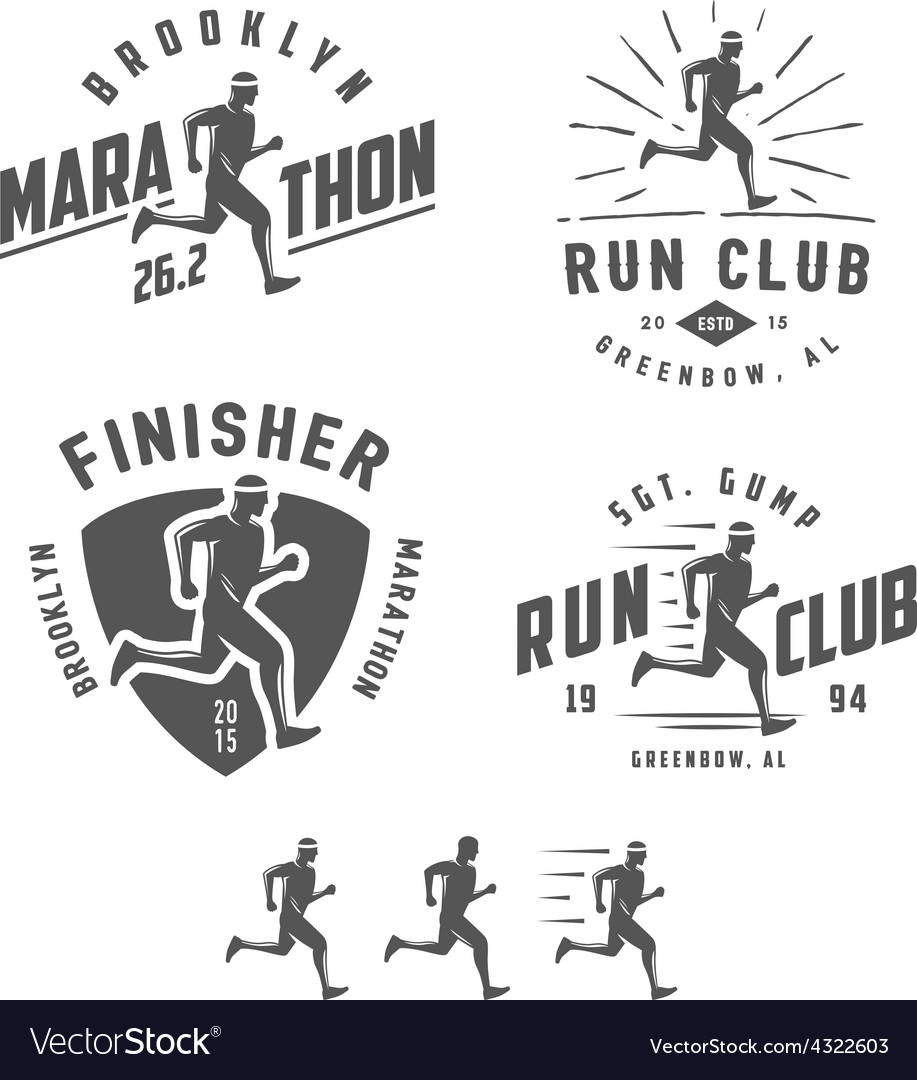 Set of vintage running club design elements vector | Price: 1 Credit (USD $1)