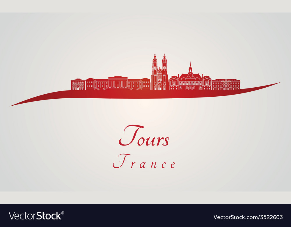 Tours skyline in red vector | Price: 1 Credit (USD $1)