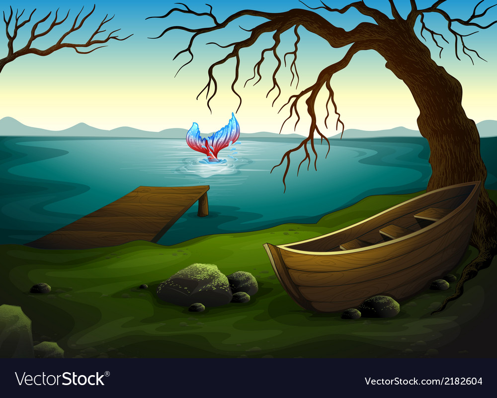 A boat under the tree near the sea with a big fish vector | Price: 3 Credit (USD $3)