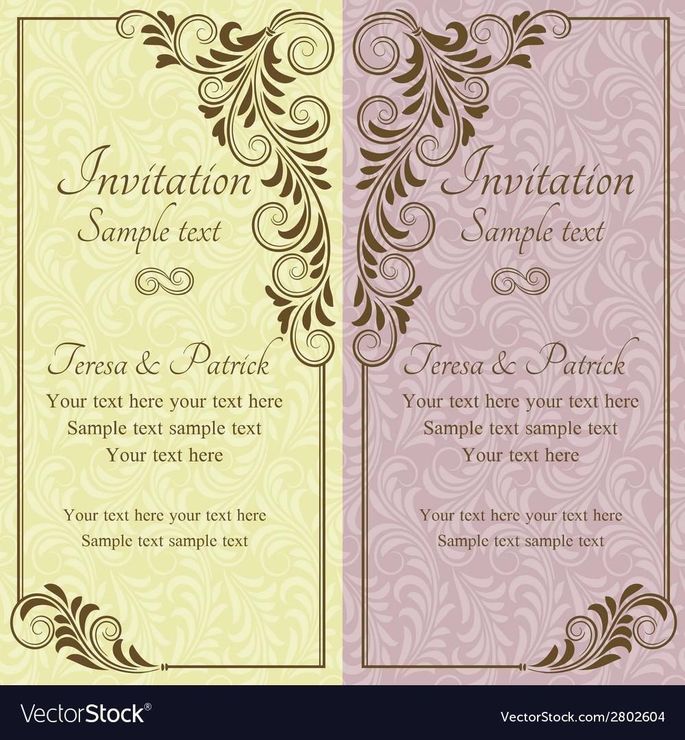Baroque wedding invitation pink and yellow vector | Price: 1 Credit (USD $1)