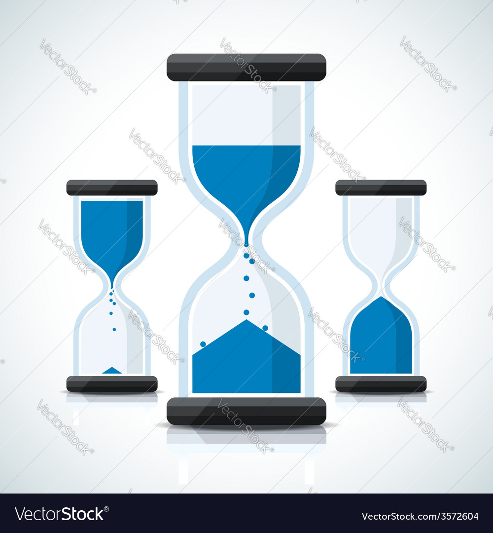 Blue business styled sand clock icons vector