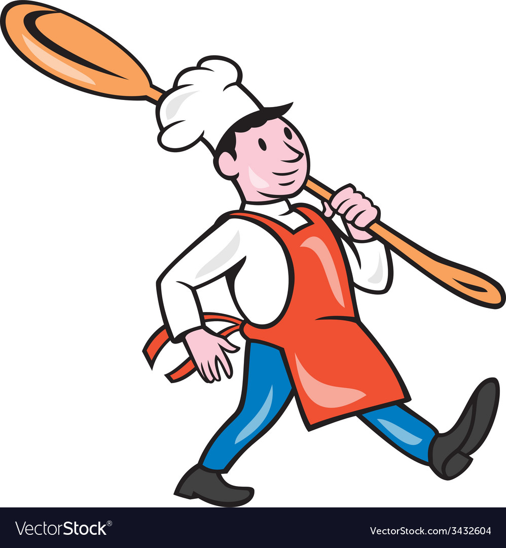 Chef cook marching spoon cartoon vector | Price: 1 Credit (USD $1)