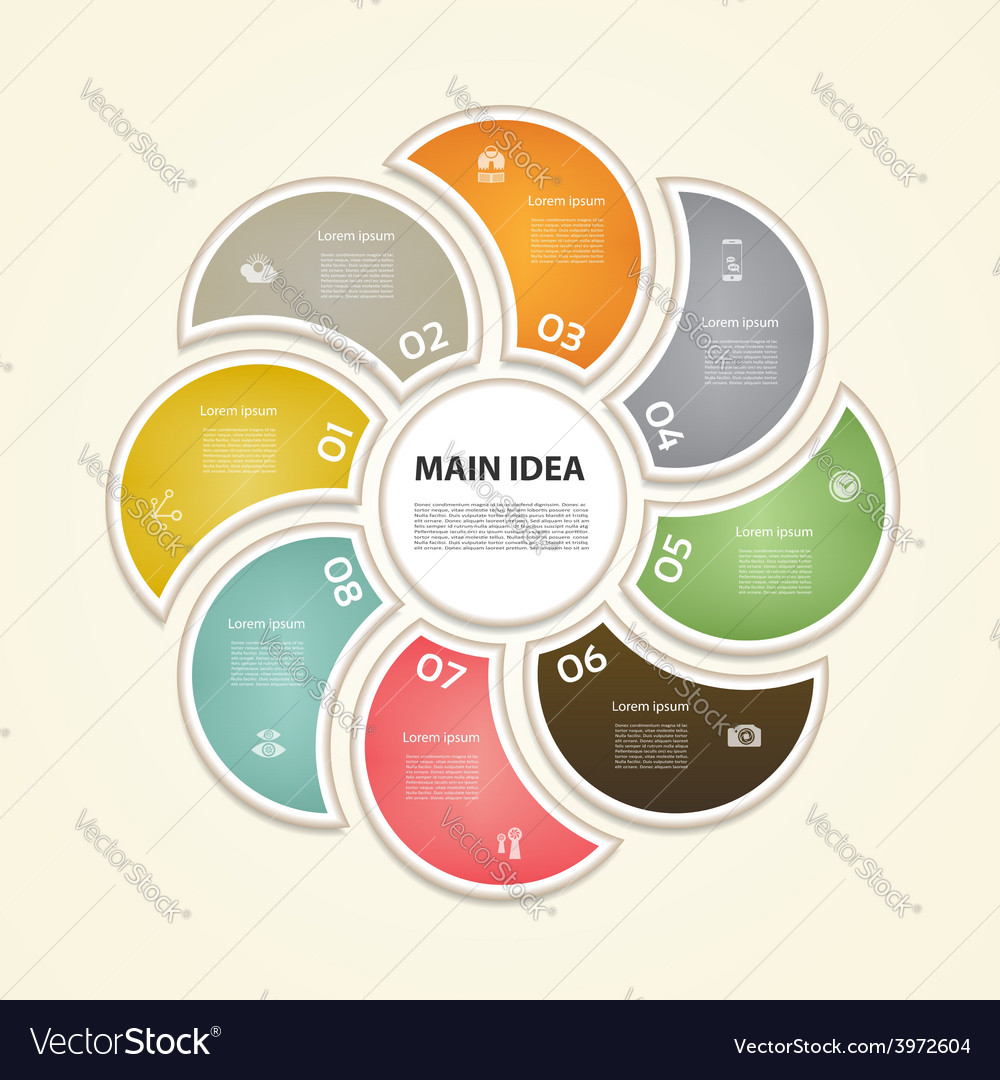 Cyclic diagram with eight steps and icons vector   Price: 1 Credit (USD $1)