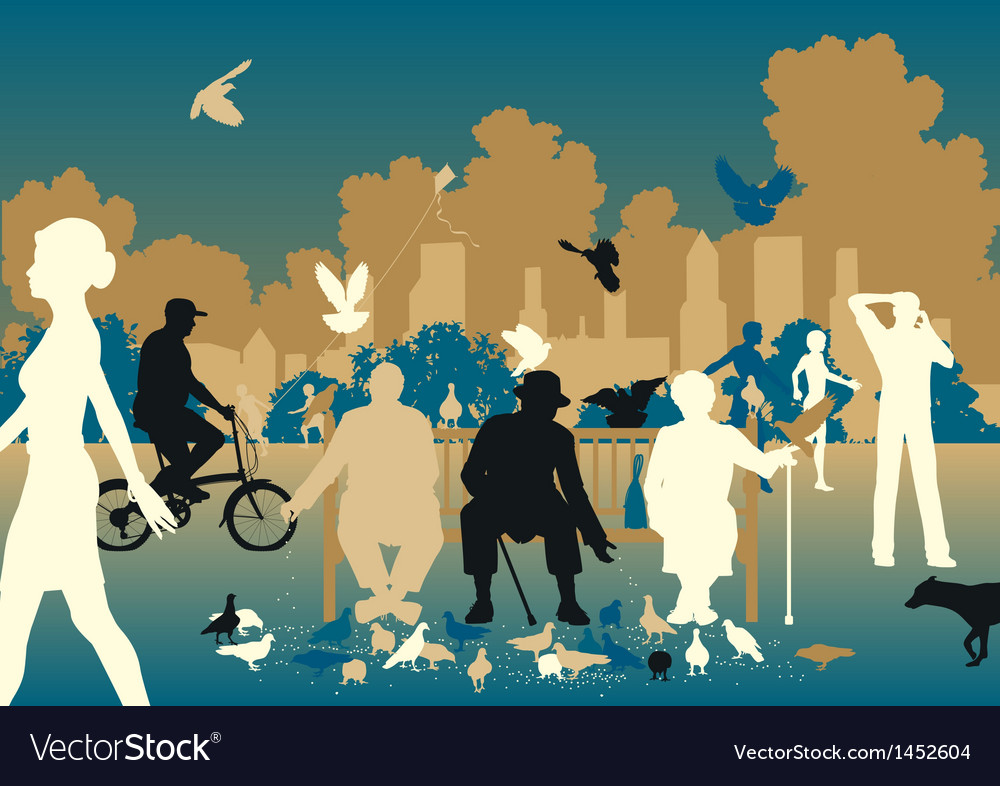 Feeding pigeons vector | Price: 1 Credit (USD $1)