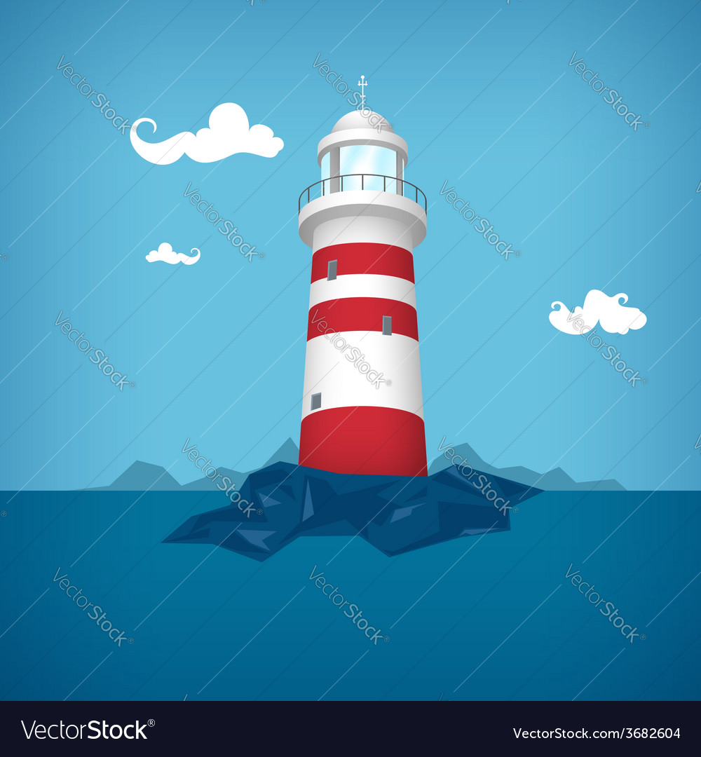 Lighthouse in the sea vector | Price: 3 Credit (USD $3)