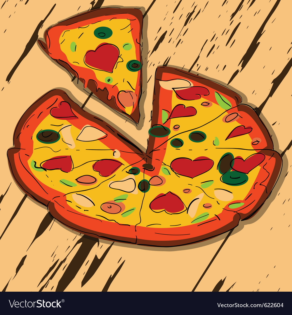 Sliced pizza vector | Price: 1 Credit (USD $1)