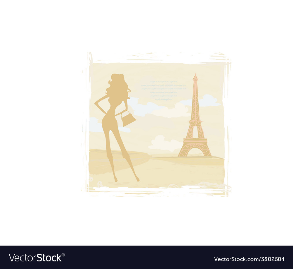 Slim women silhouette shopping in paris - card vector | Price: 1 Credit (USD $1)