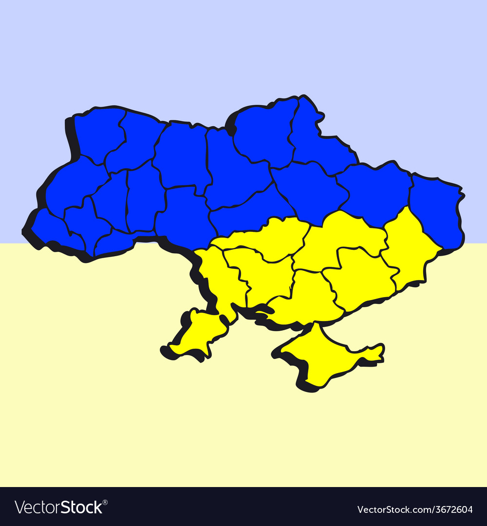 Stylized map of ukrain in blue and yellow colors vector | Price: 1 Credit (USD $1)
