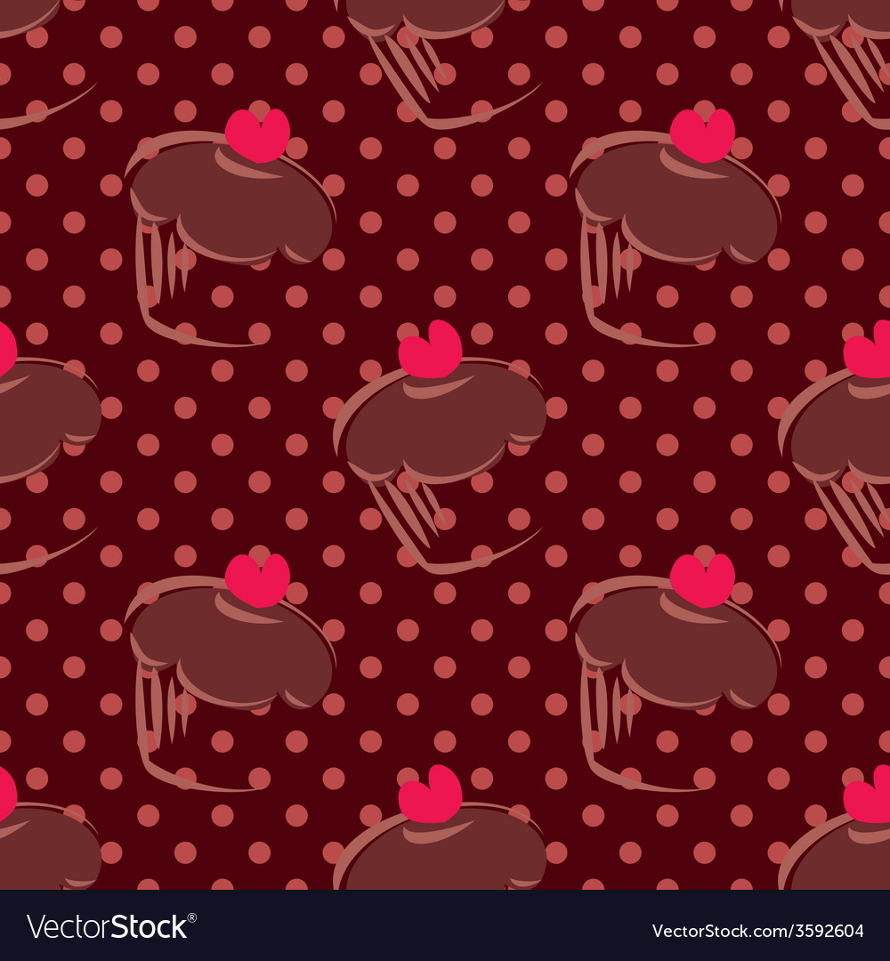 Tile brown cake pattern on dots background vector | Price: 1 Credit (USD $1)