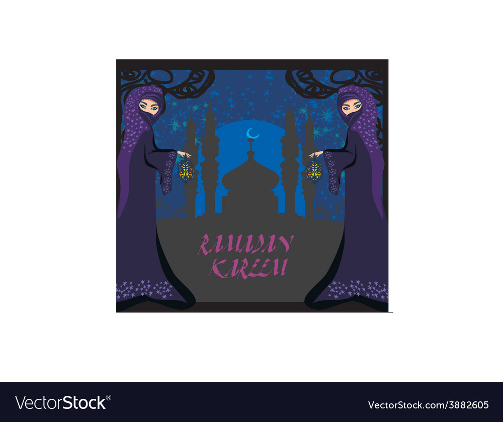 Beautiful muslim women on mosque background vector | Price: 1 Credit (USD $1)