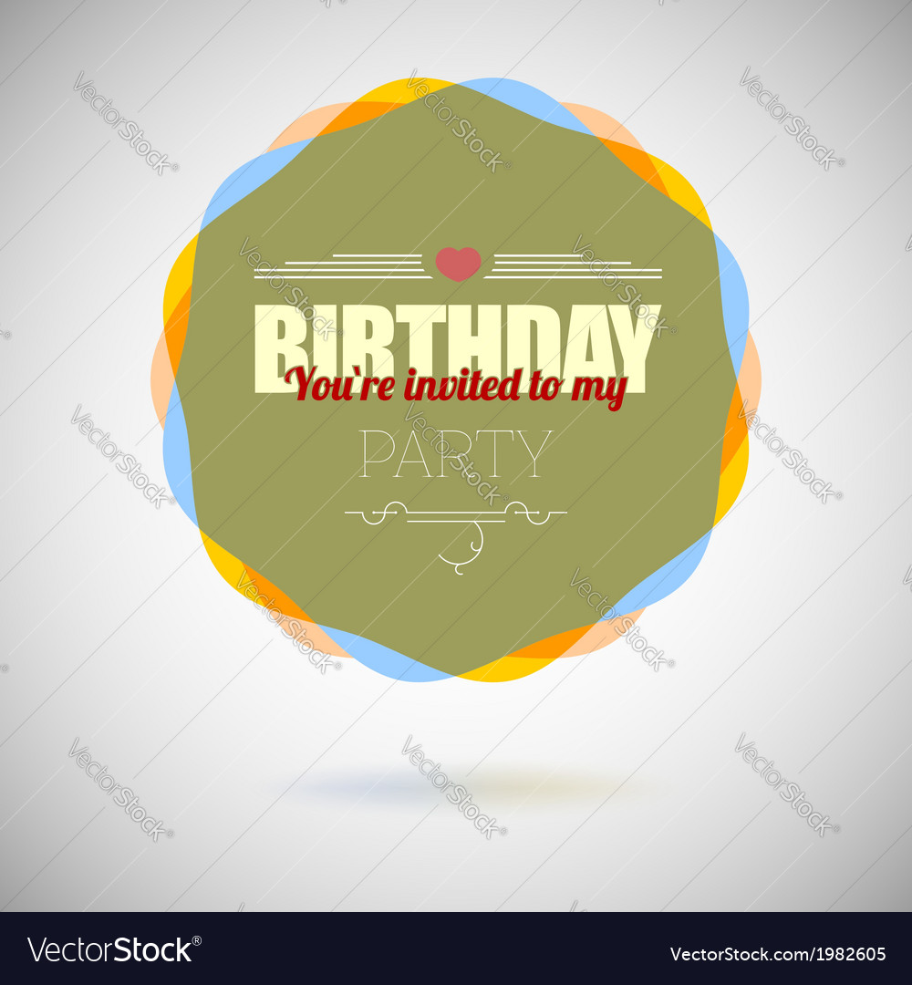 Birthday party invitation card design template vector | Price: 1 Credit (USD $1)