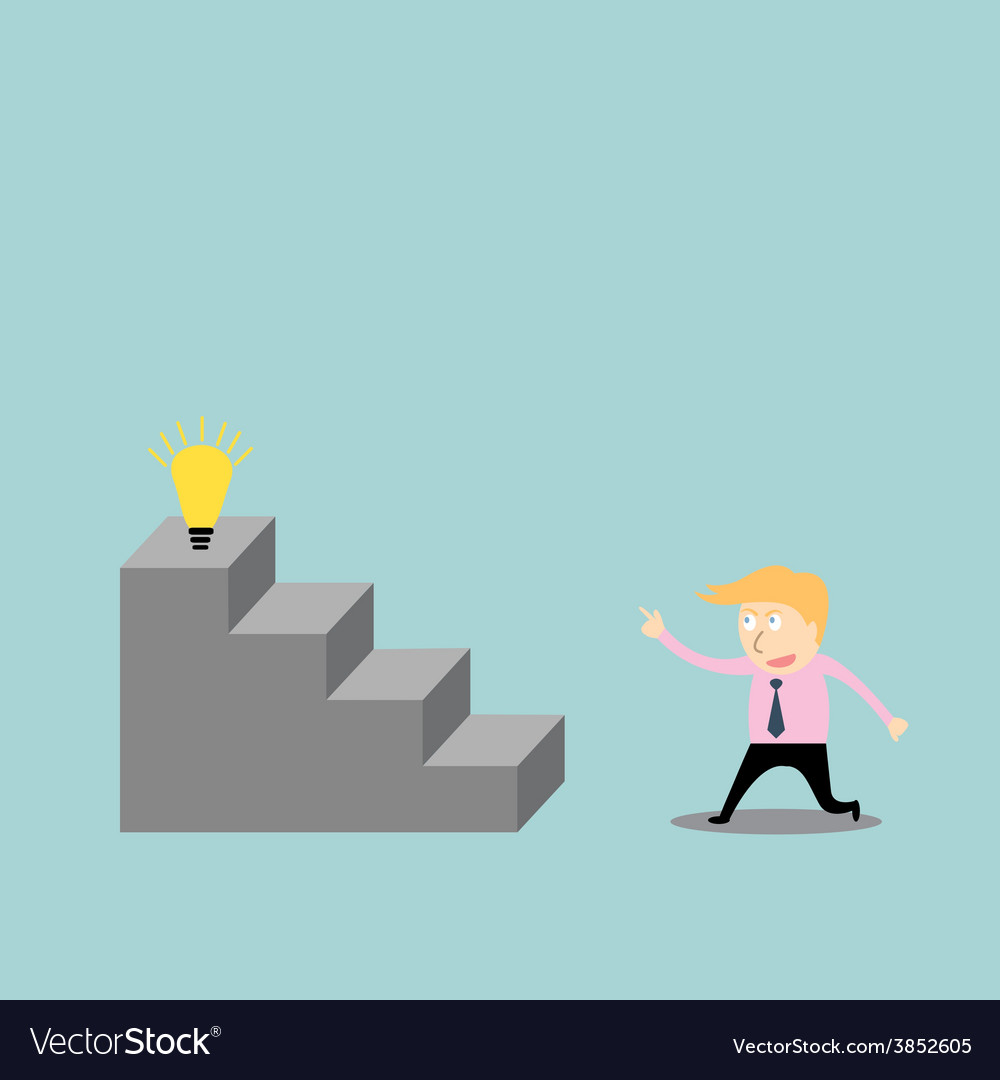 Businessman climbing the ladder of idea vector | Price: 1 Credit (USD $1)
